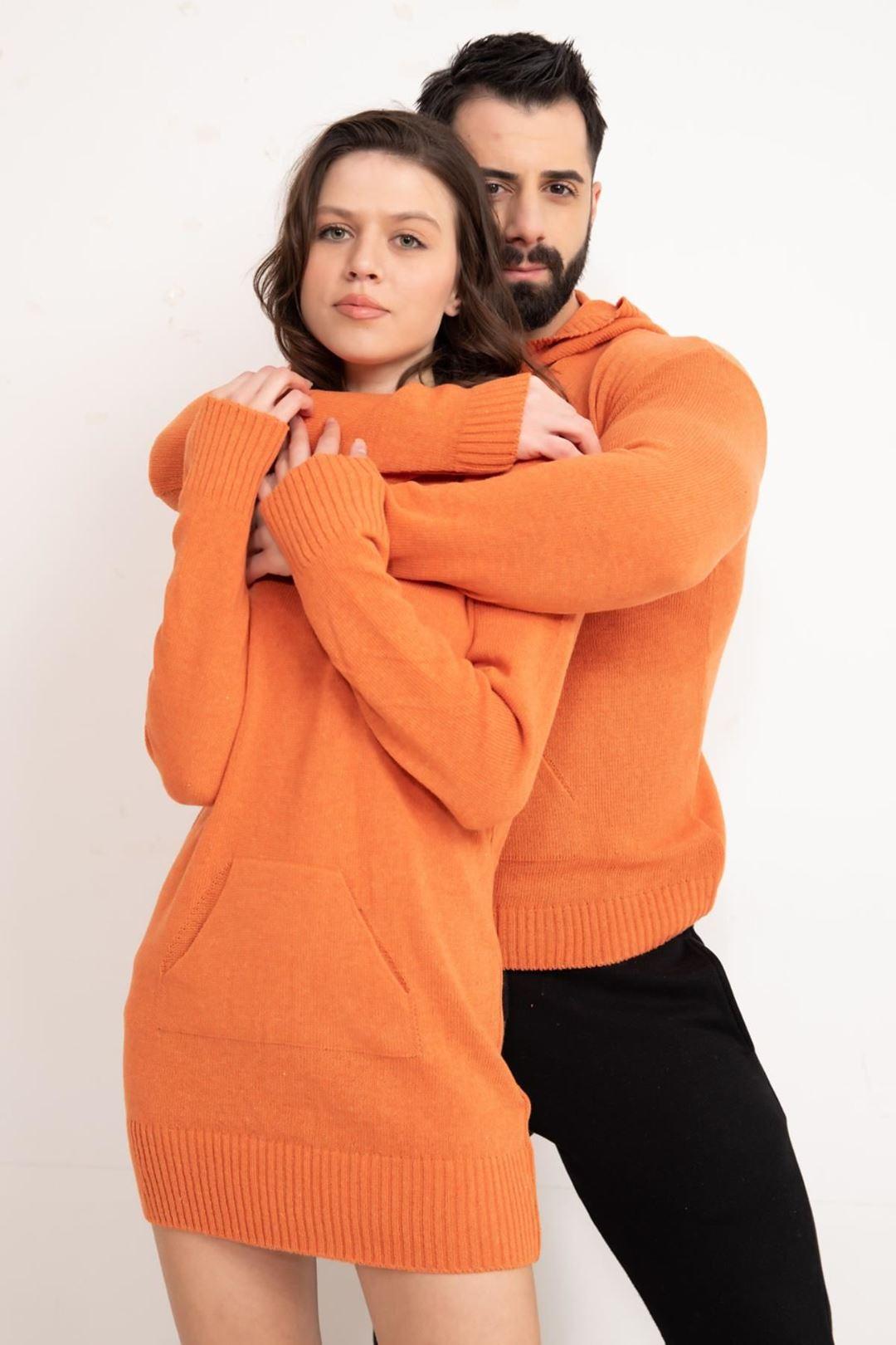 Kapşonlu Eşli Triko Kazak Orange