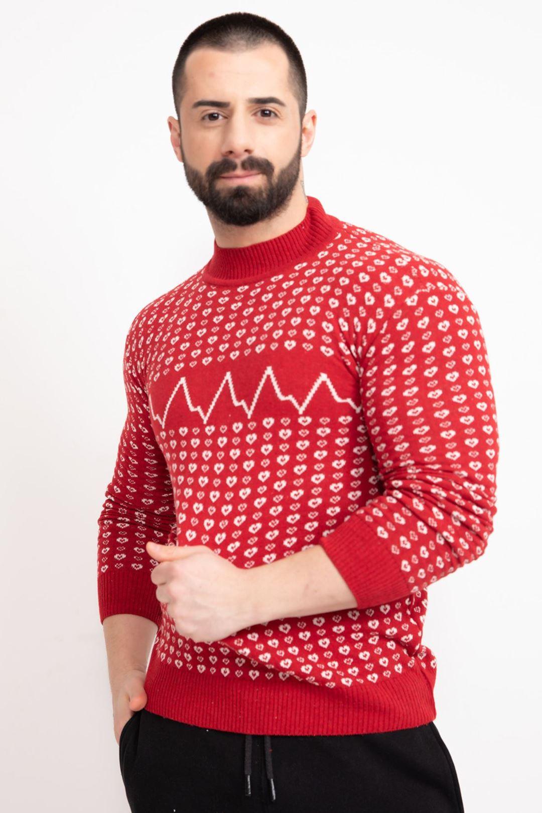 kalp baskılı triko kazak Kırmızı