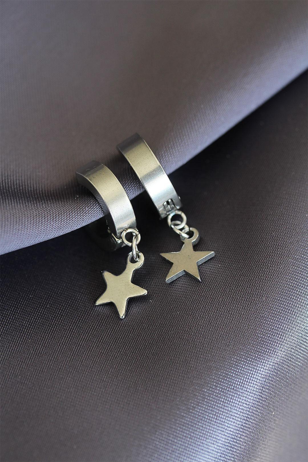 Yıldız Tasarımlı Sıkıştırmalı Çelik Küpe