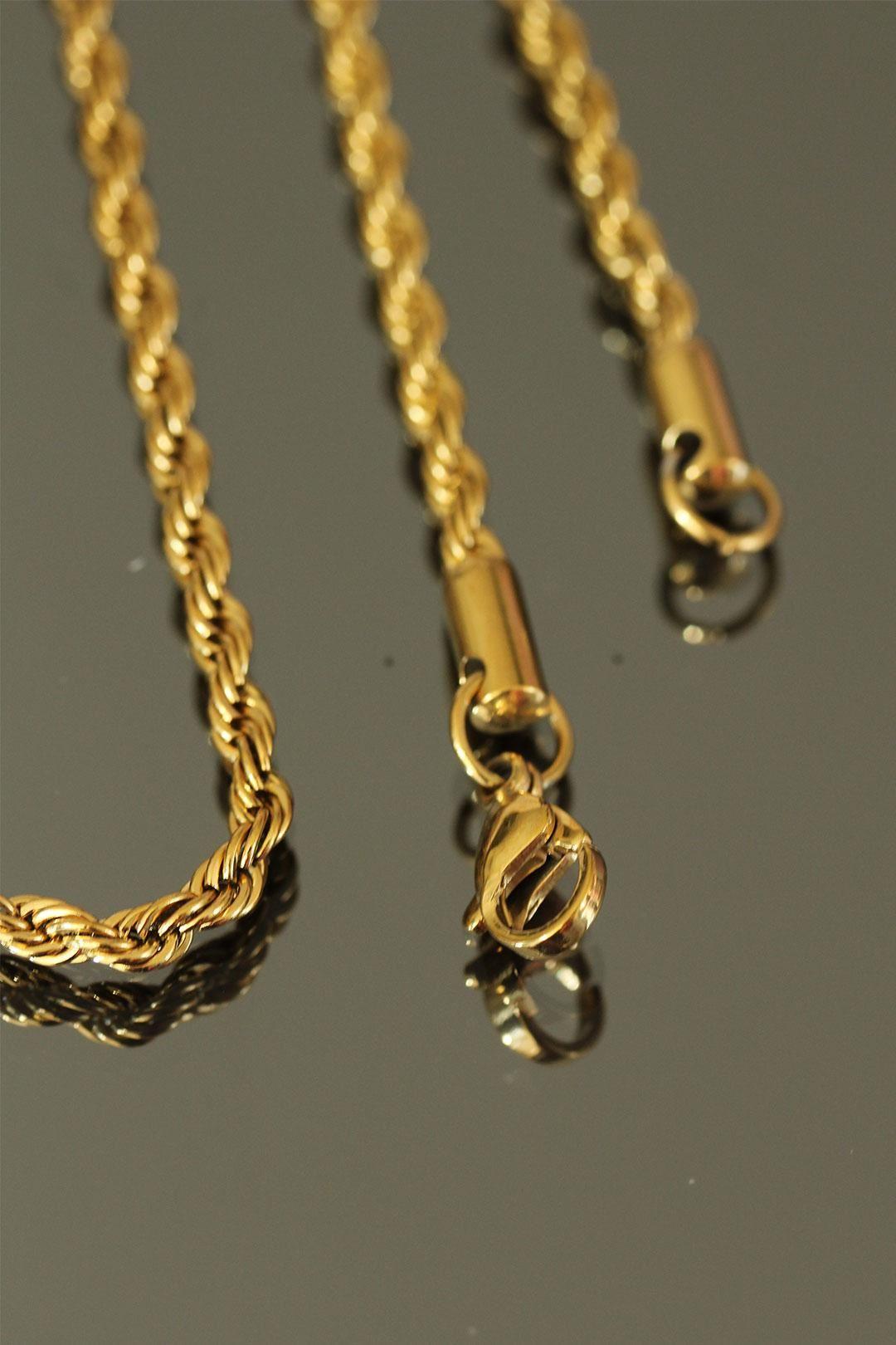 Gold Renk İnce Burgu Çelik Zincir