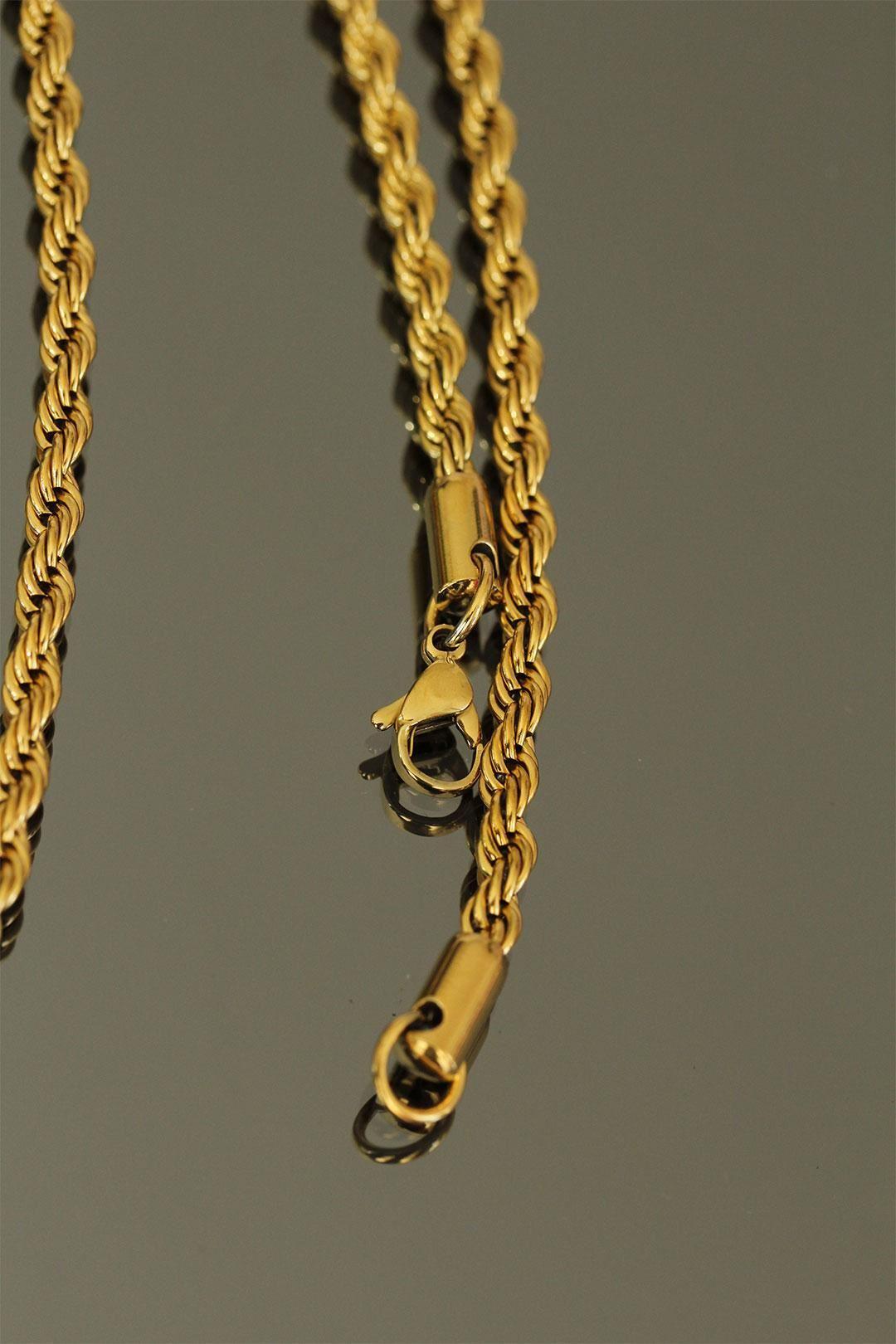 Gold Renk Kalın Burgu Çelik Zincir