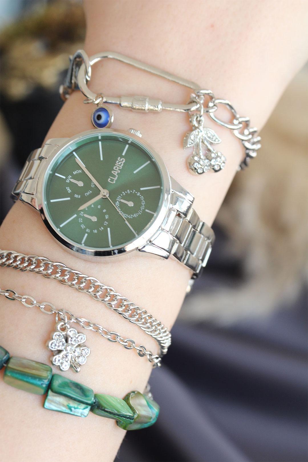 Gümüş Renk Metal Kordonlu Yeşil Kadran Kadın Saat ve Bileklik Kombini