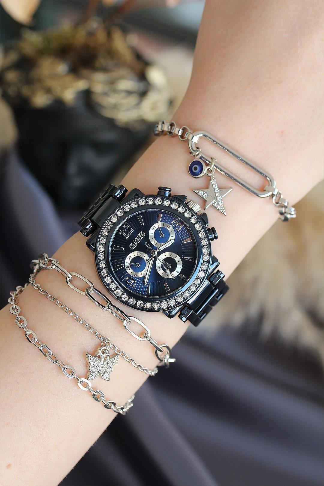 Lacivert Renk Metal Kordonlu Taşlı Kasa Kadın Saat ve Bileklik Kombini