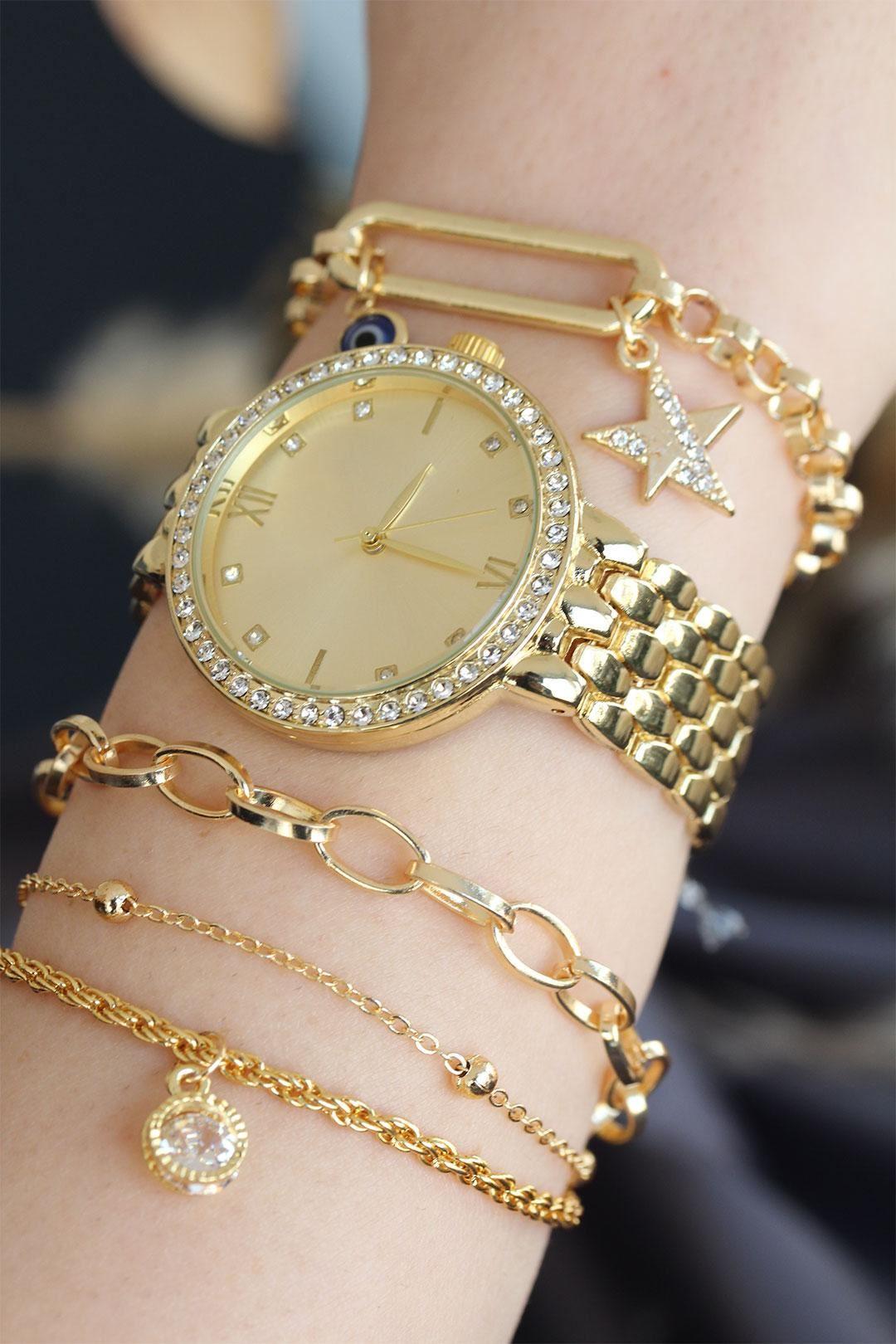 Roma Rakamlı Altın Renk Metal Taşlı Kasa Kadın Saat ve Bileklik Kombini