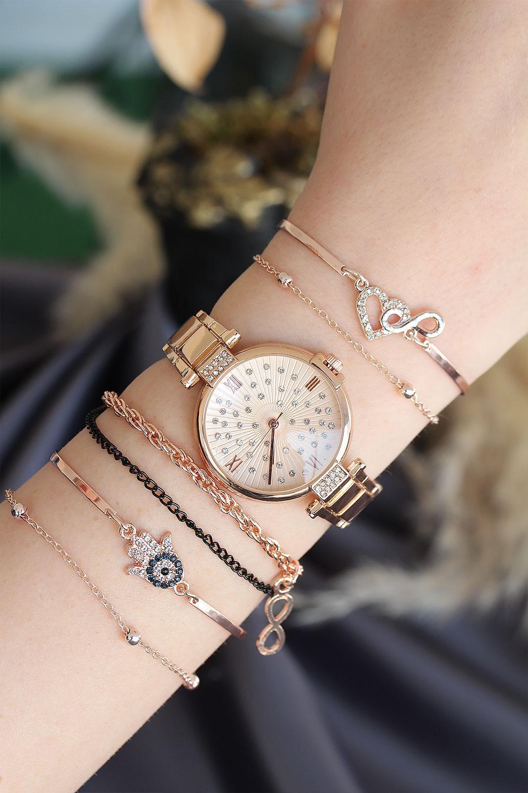 Roma Rakamlı Rose Renk Metal Kasa Kadın Saat ve Bileklik Kombini