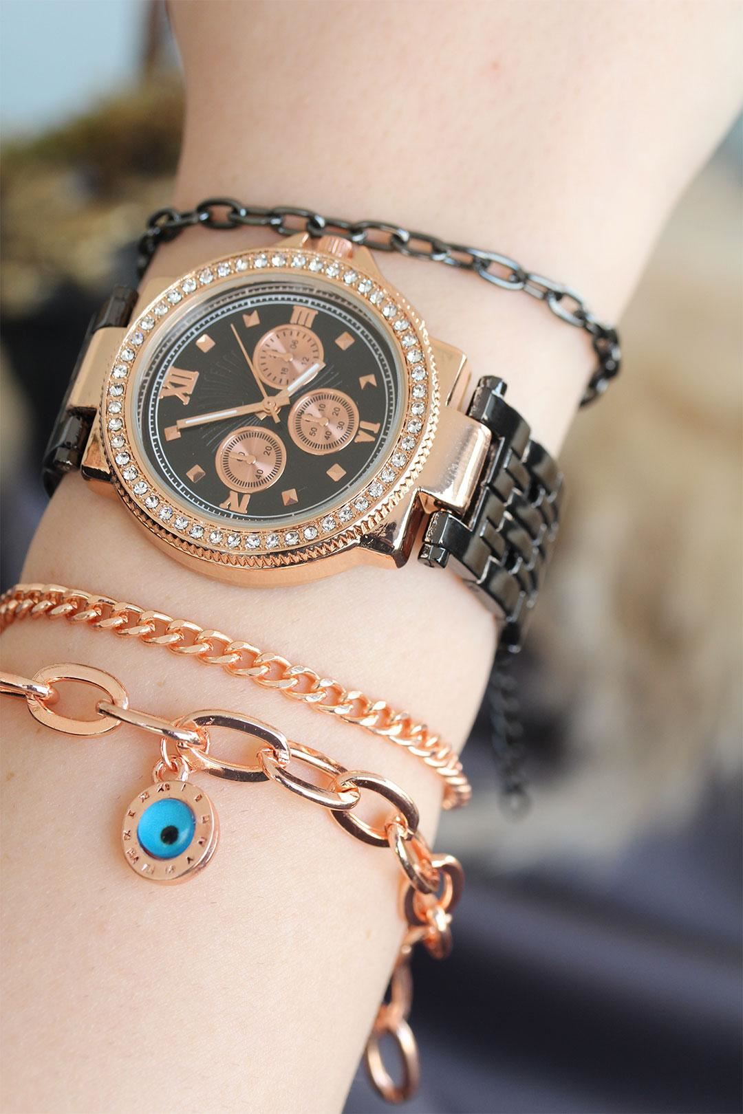 Füme Renk Metal Kordonlu Rose Taşlı Kasa Kadın Saat ve Bileklik Kombini