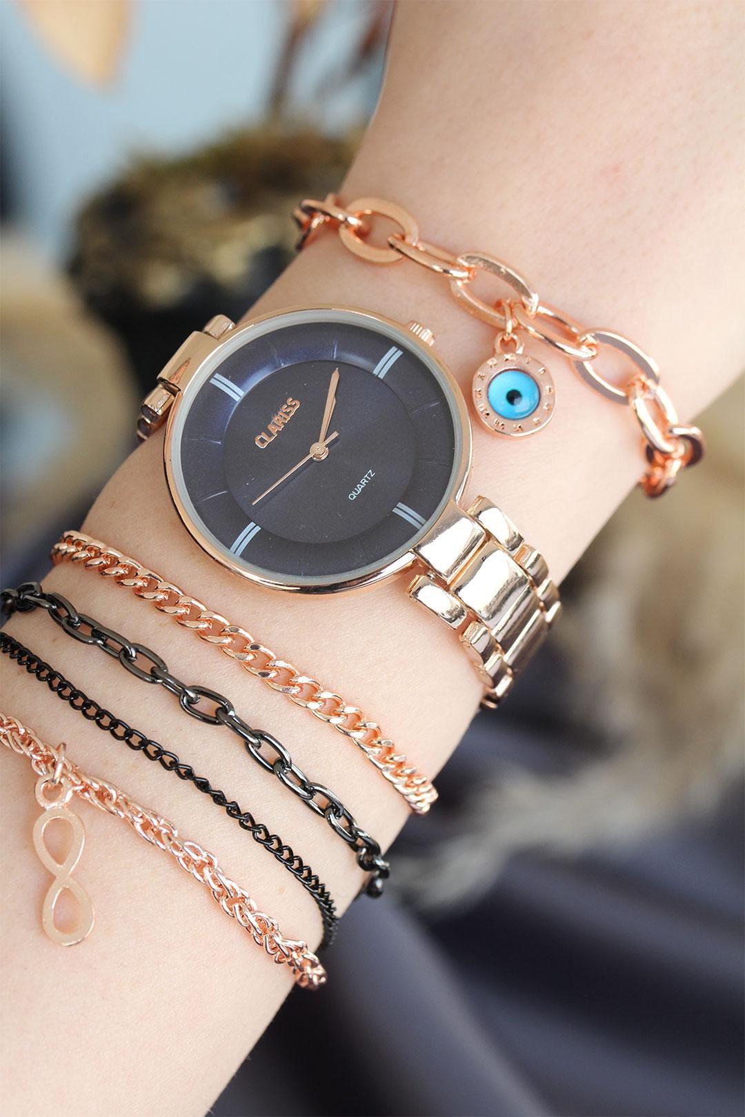 Rose Renk Metal Kordonlu Lacivert Kadran Kadın Saat ve Bileklik Kombini