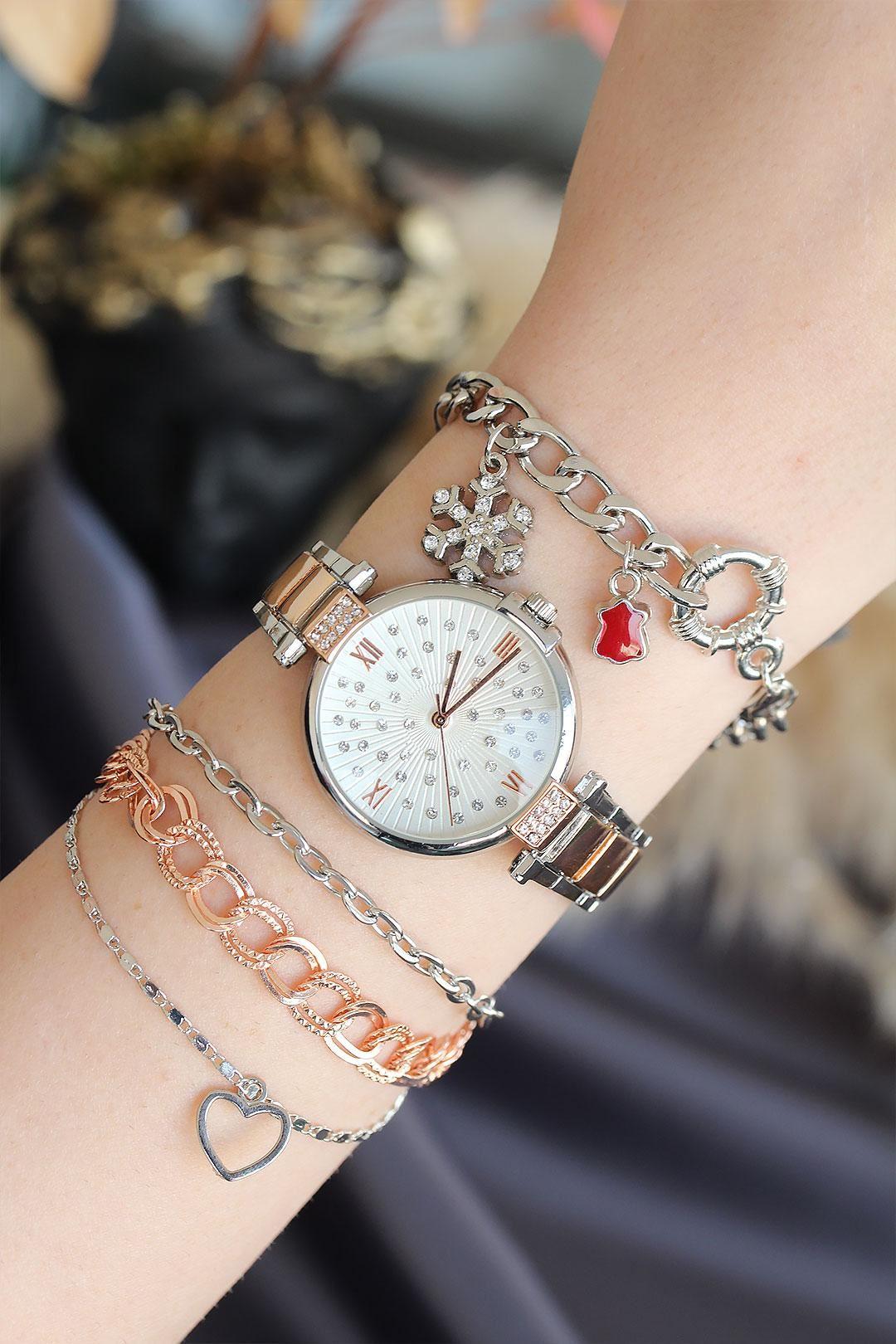 Roma Rakamlı Gümüş Rose Renk Metal Kasa Kadın Saat ve Bileklik Kombini