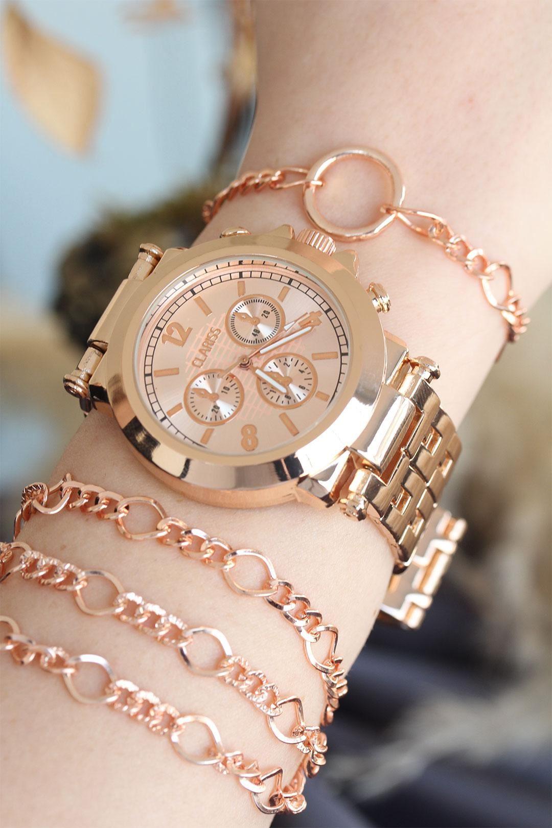 Rose Renk Metal Kasa Kadın Saat ve Bileklik Kombini