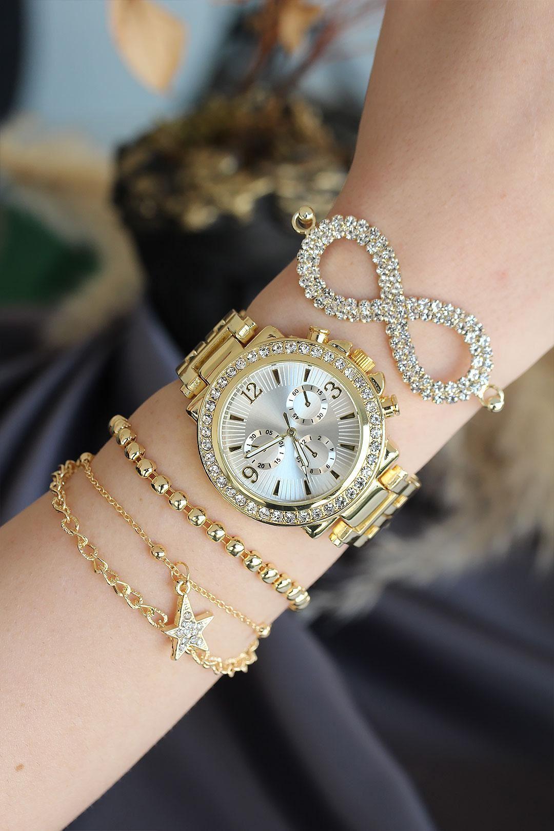 Altın Renk Metal Taşlı Beyaz Kasa Kadın Saat ve Bileklik Kombini