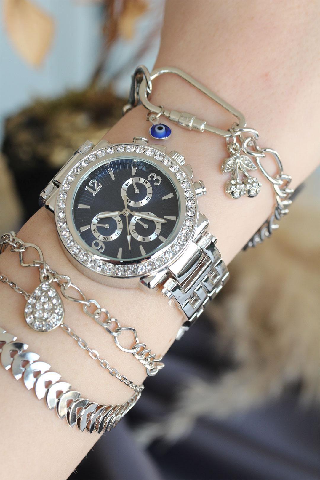 Gümüş Renk Metal Taşlı Kasa Mavi Kadran Kadın Saat ve Bileklik Kombini