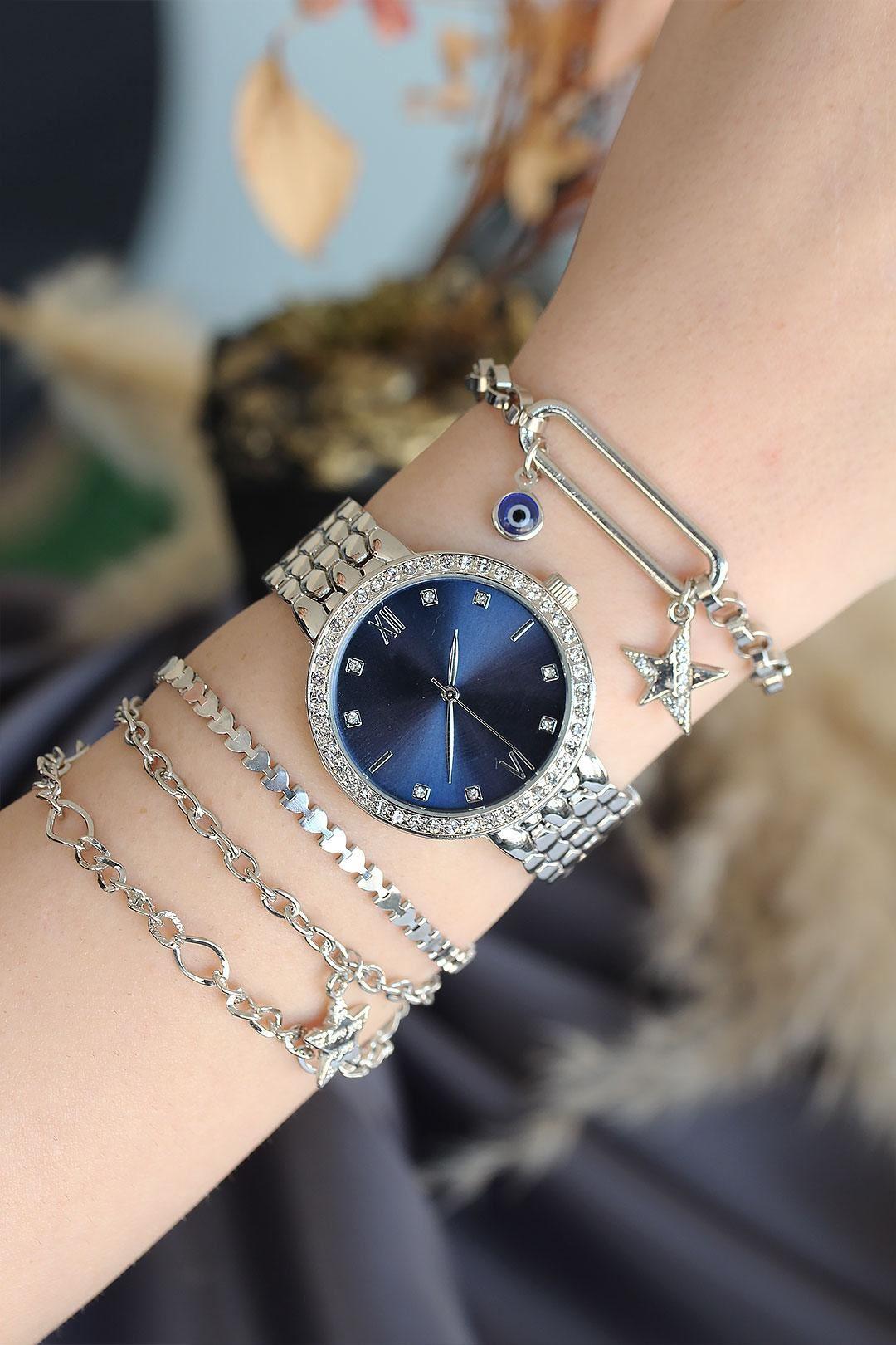 Roma Rakamlı Gümüş Renk Metal Taşlı Kasa Mavi Kadran Kadın Saat ve Bileklik Kombini