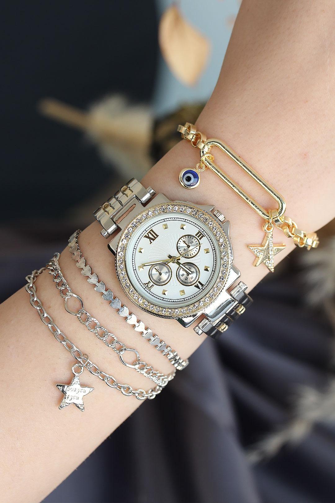 Roma Rakamlı Gümüş Altın Renk Metal Taşlı Kasa Kadın Saat ve Bileklik Kombini