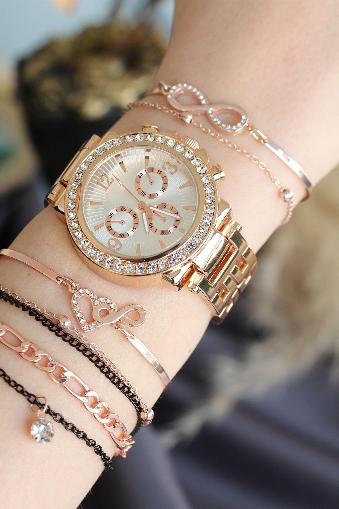 Rose Renk Metal Taşlı Beyaz Kasa Kadın Saat ve Bileklik Kombini