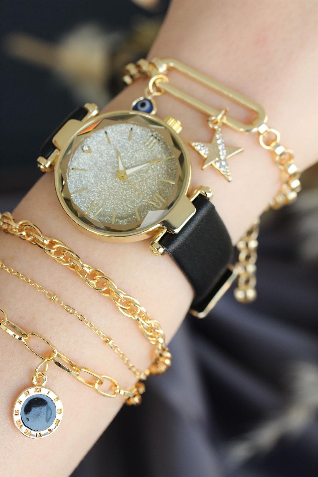 Siyah Renk Deri Kordonlu Gold Kasa Kadın Saat ve Bileklik Kombini