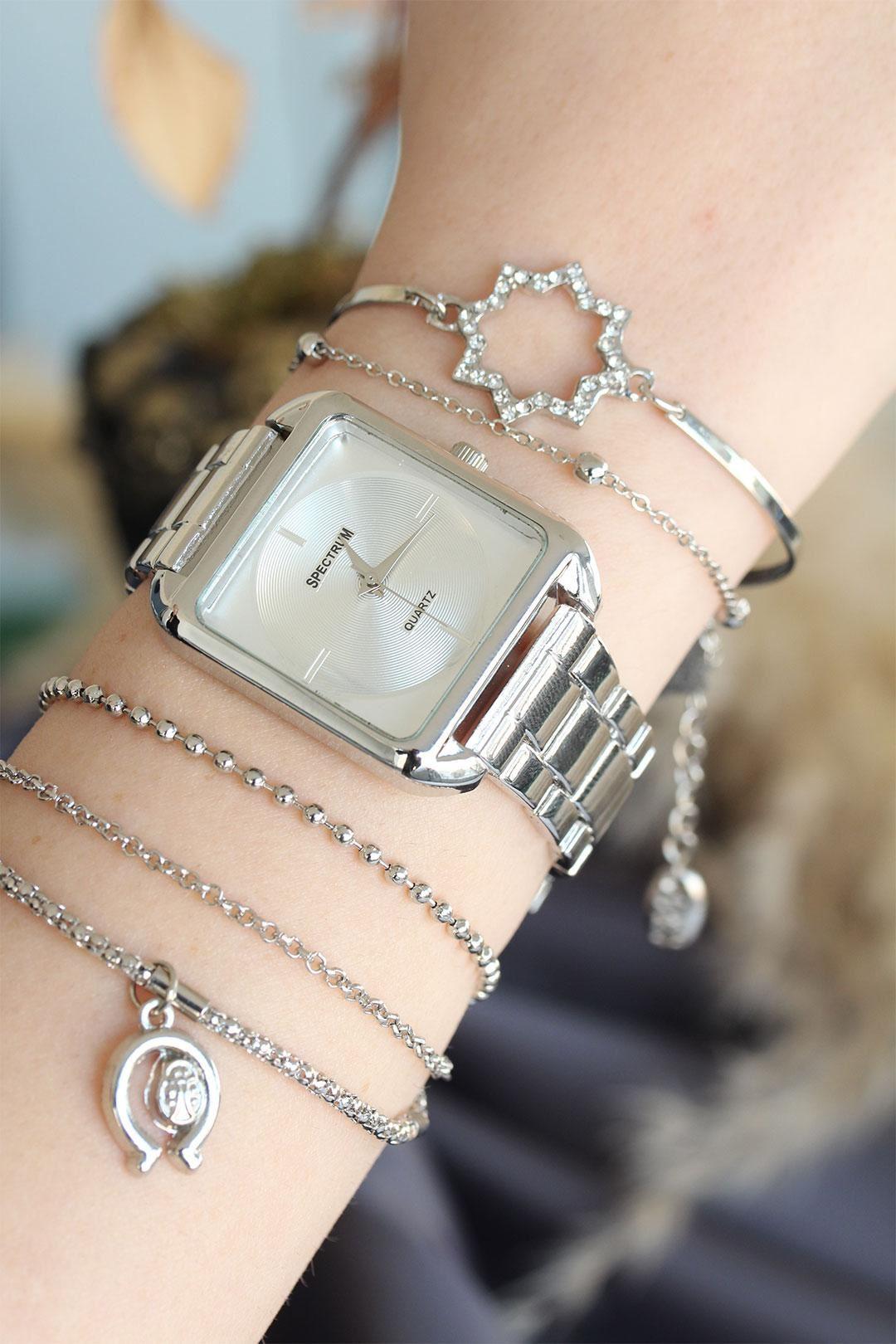 Gümüş Renk Metal Kare Kasa Kadın Saat ve Bileklik Kombini