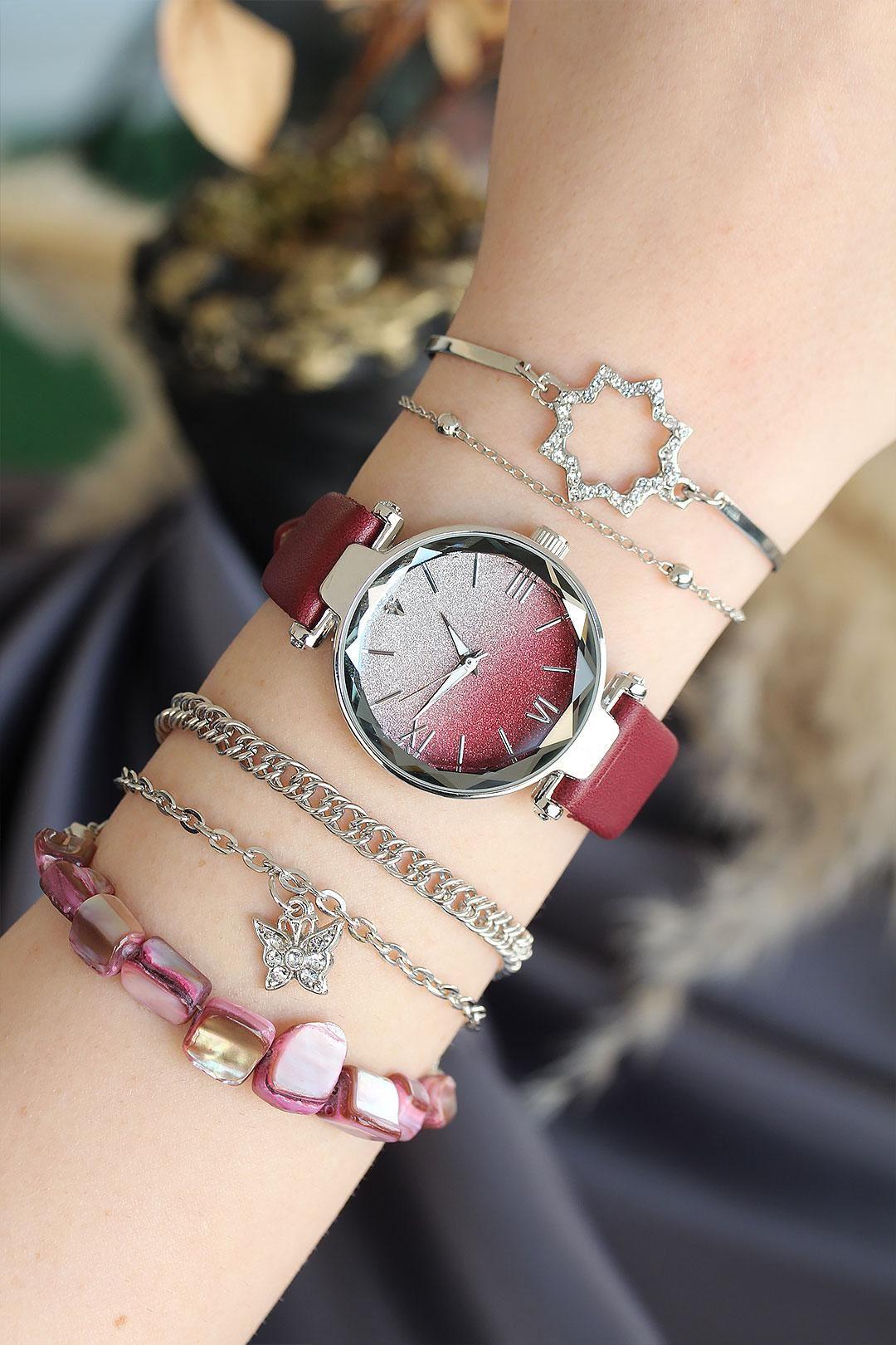 Bordo Renk Deri Kordonlu Gümüş Kasa Kadın Saat ve Bileklik Kombini