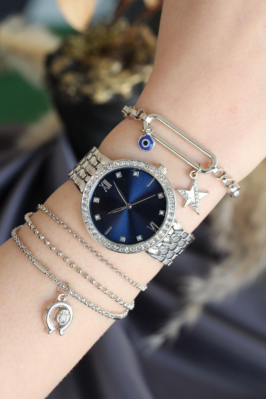Roma Rakamlı Gümüş Renk Metal Kordonlu Lacivert Kadran Kadın Saat ve Bileklik Kombini