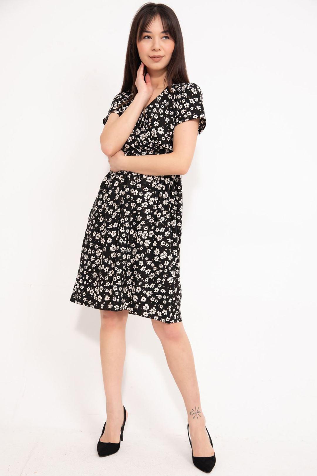 Kruvaze Yaka Kloş Elbise Siyah