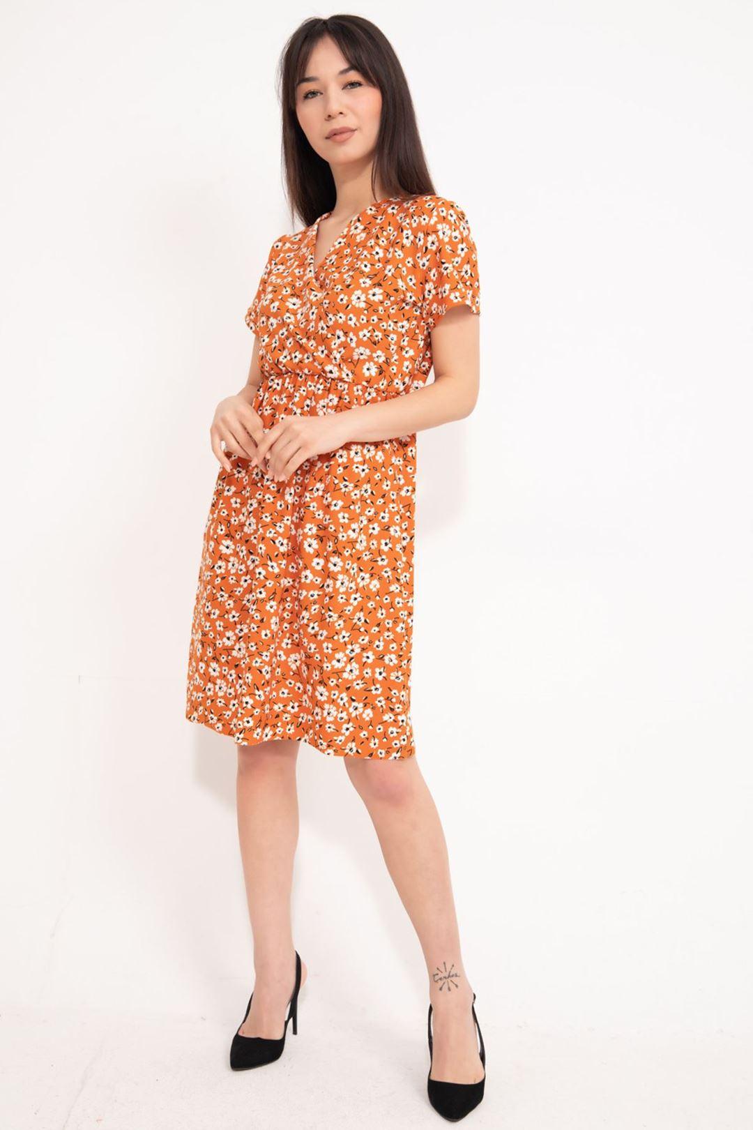 Kruvaze Yaka Kloş Elbise Orange