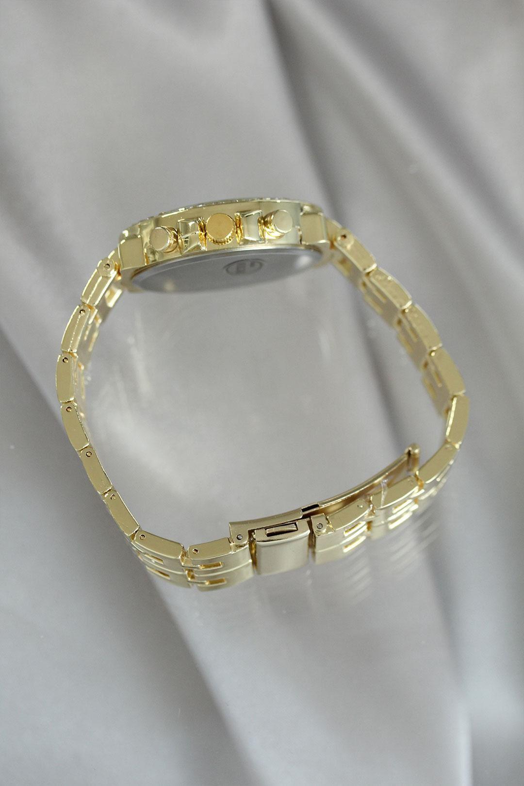 Gold Renk Zirkon Taşlı Metal Kadın Saat
