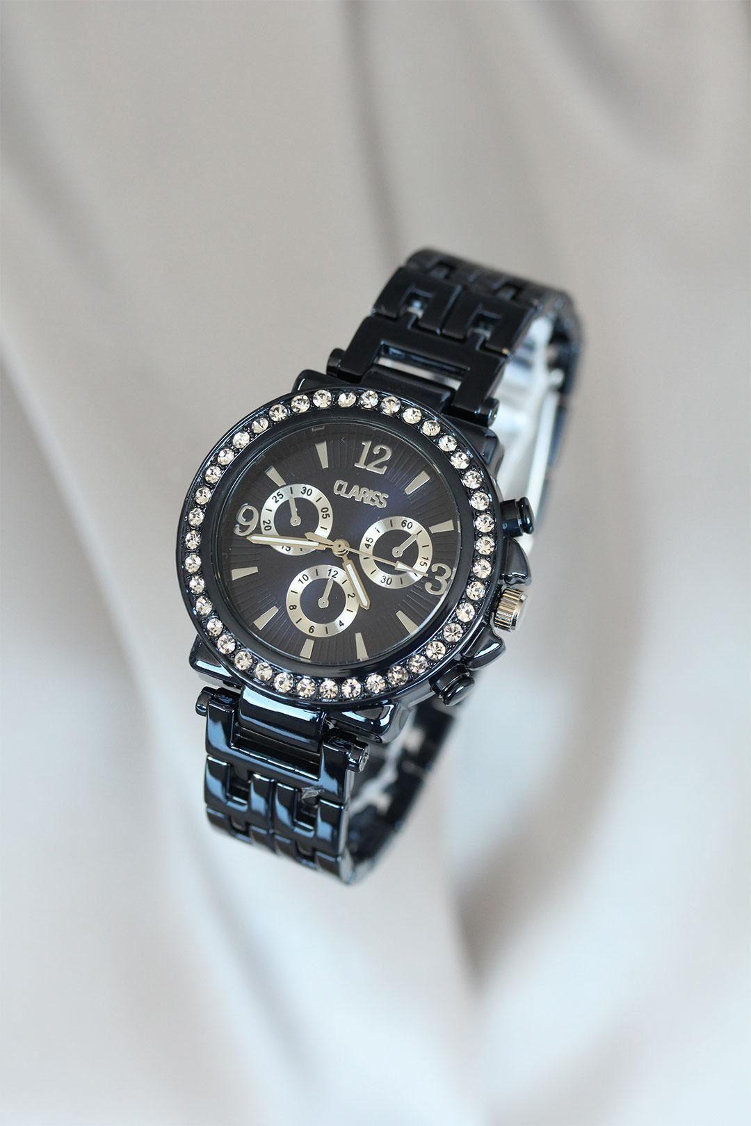 Clariss Marka Lacivert Renk Zirkon Taşlı Metal Kadın Saat