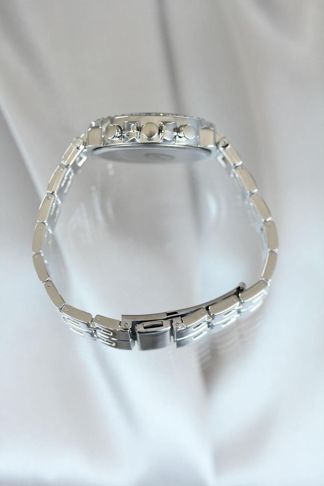 Gümüş Renk Zirkon Taşlı Lacivert Kadran Metal Kadın Saat