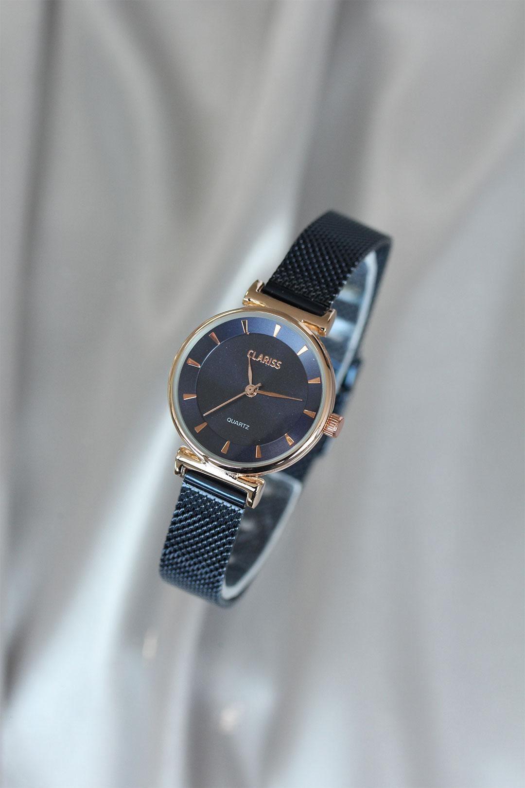 Clariss Marka Lacivert Renk Hasır Metal İnce Kordonlu Kadın Saat