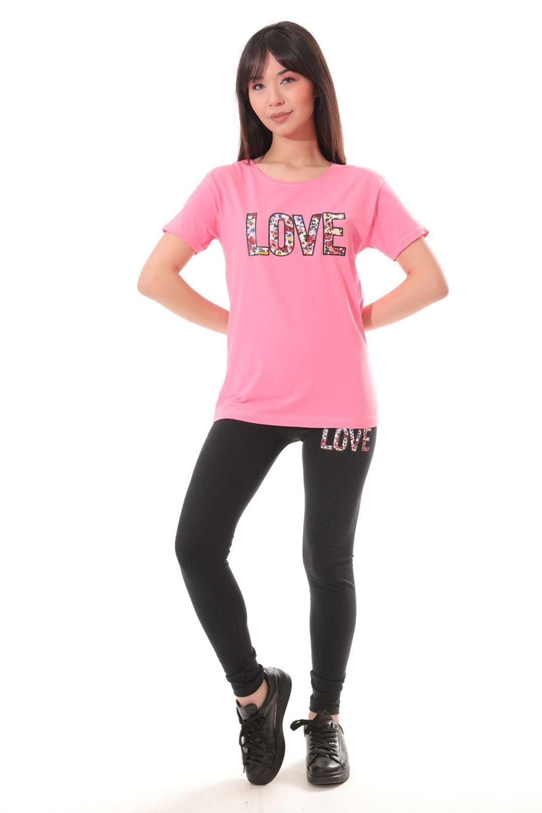 Love Baskılı İkili Takım Pembe