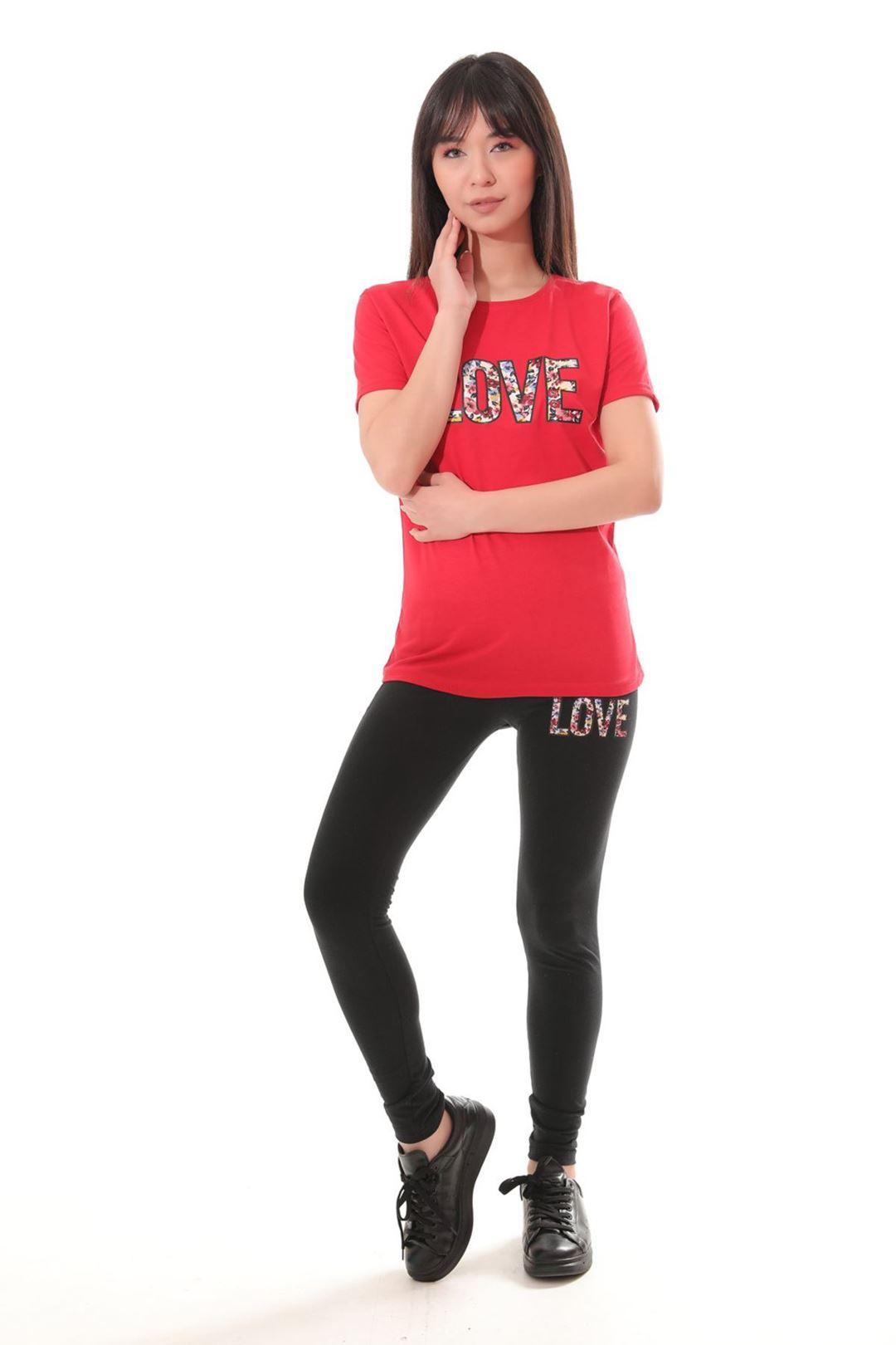 Love Baskılı İkili Takım Kırmızı