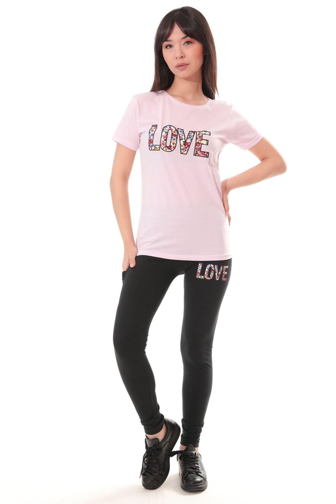 Love Baskılı İkili Takım Lila