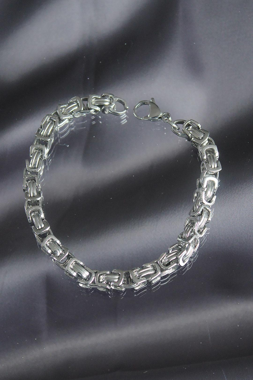 Silver Renkli Çelik Erkek Bileklik