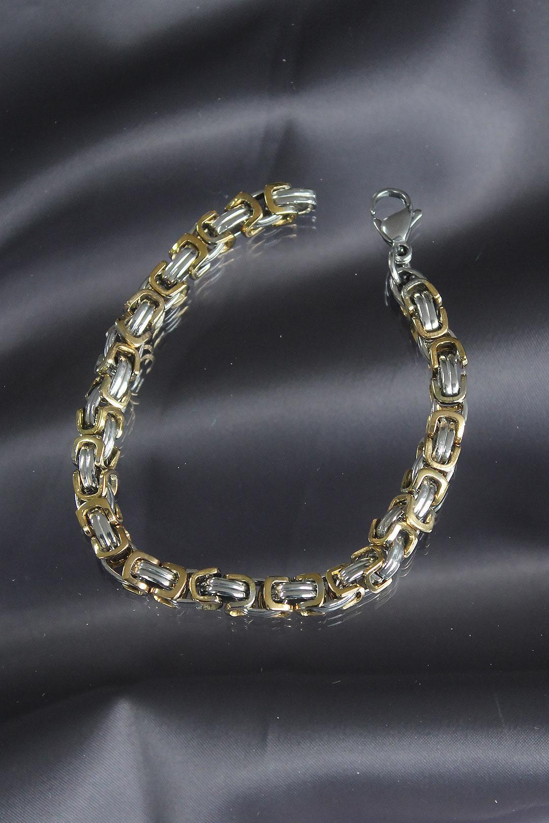 Gold Silver Renkli Çelik Erkek Bileklik