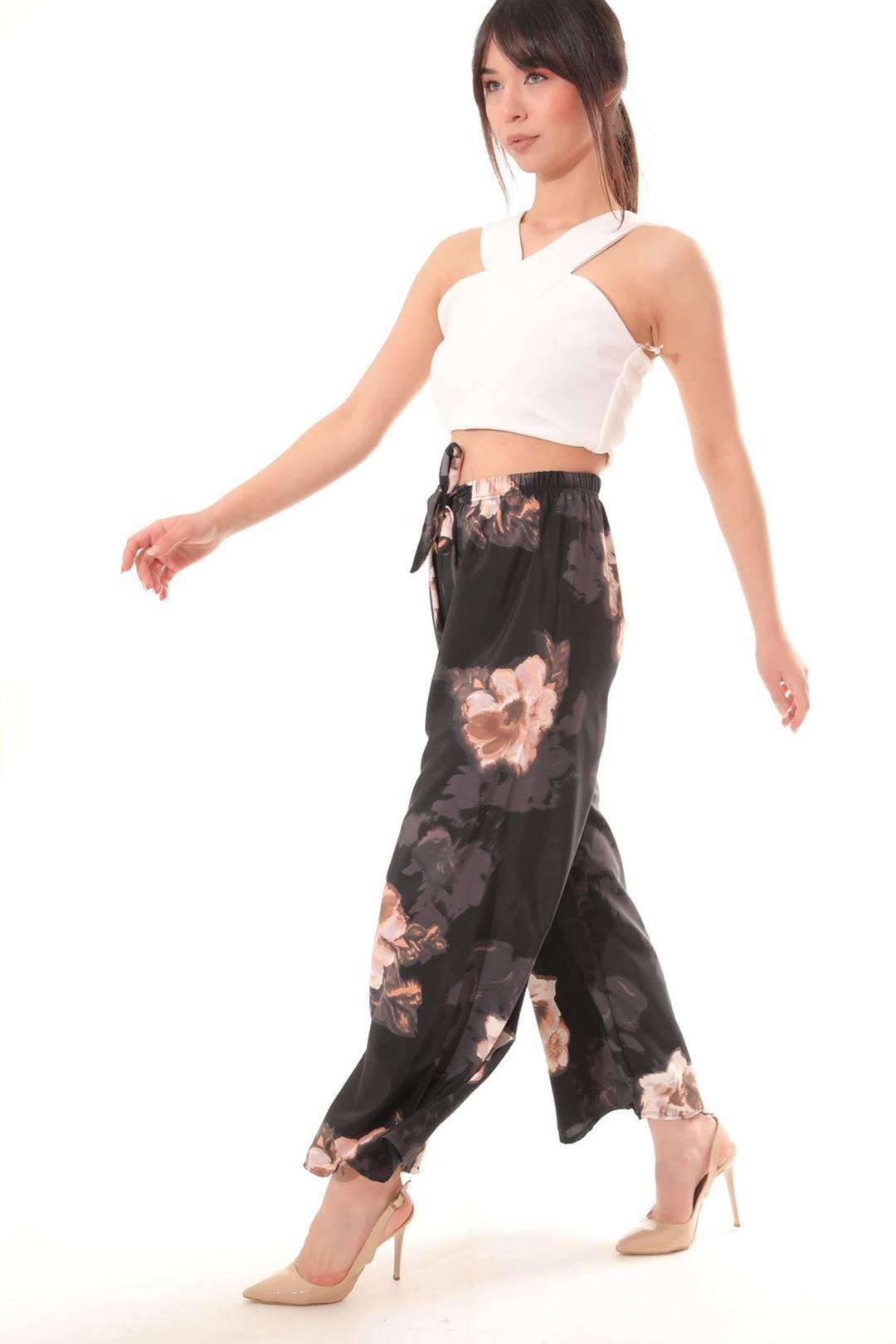 Desenli Salaş Pantolon Lacivert