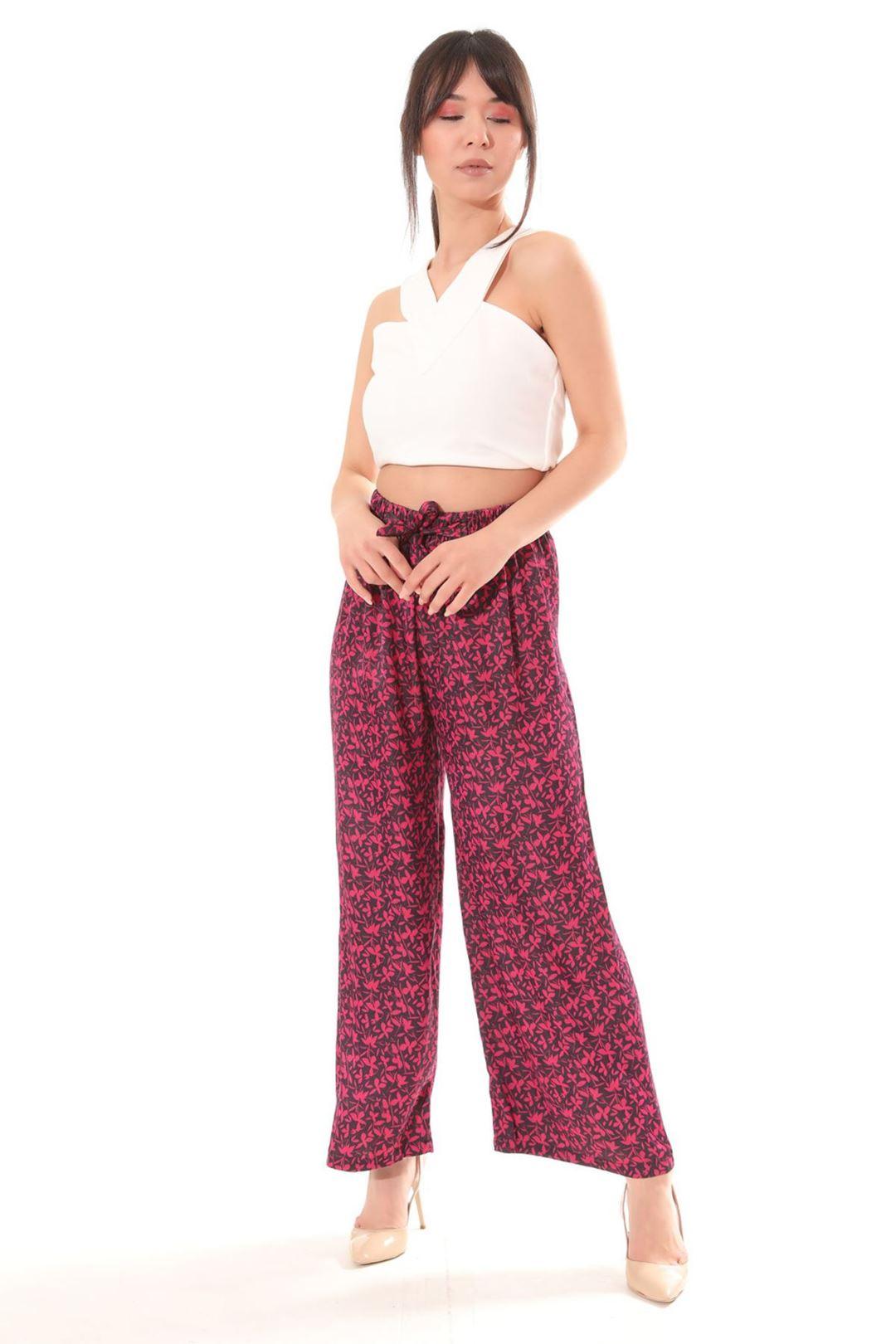 Desenli Salaş Pantolon Fuşya