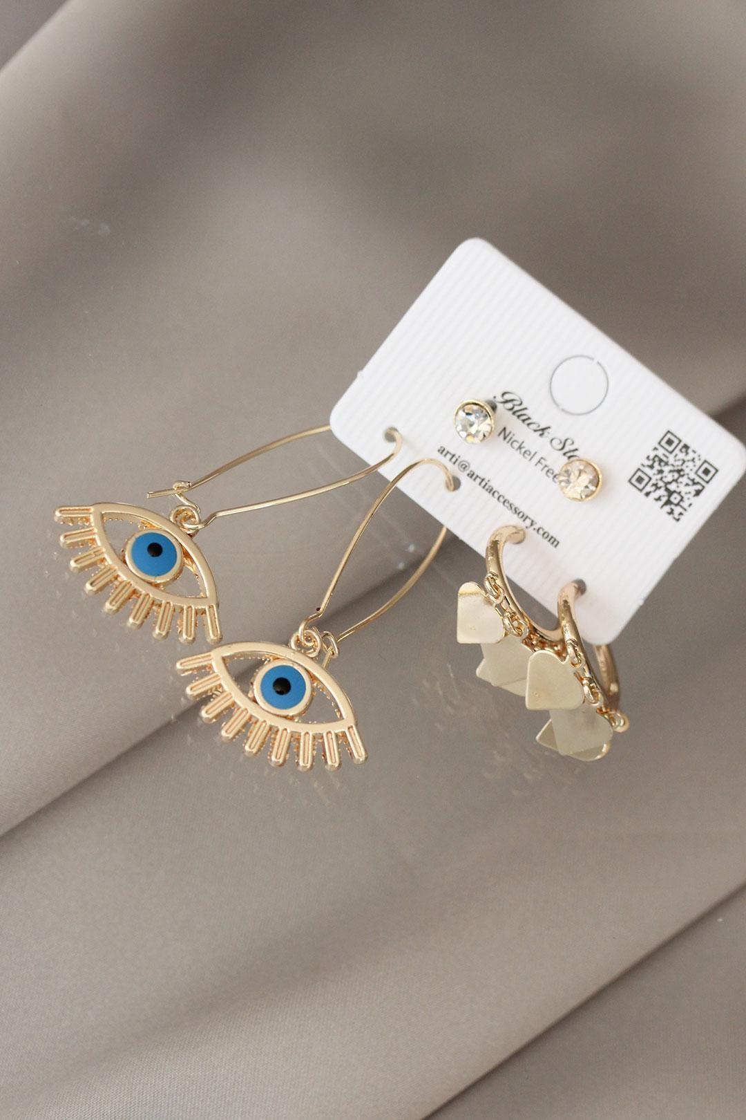 Mavi Göz Figürlü Gold Renk Metal Küpe Seti