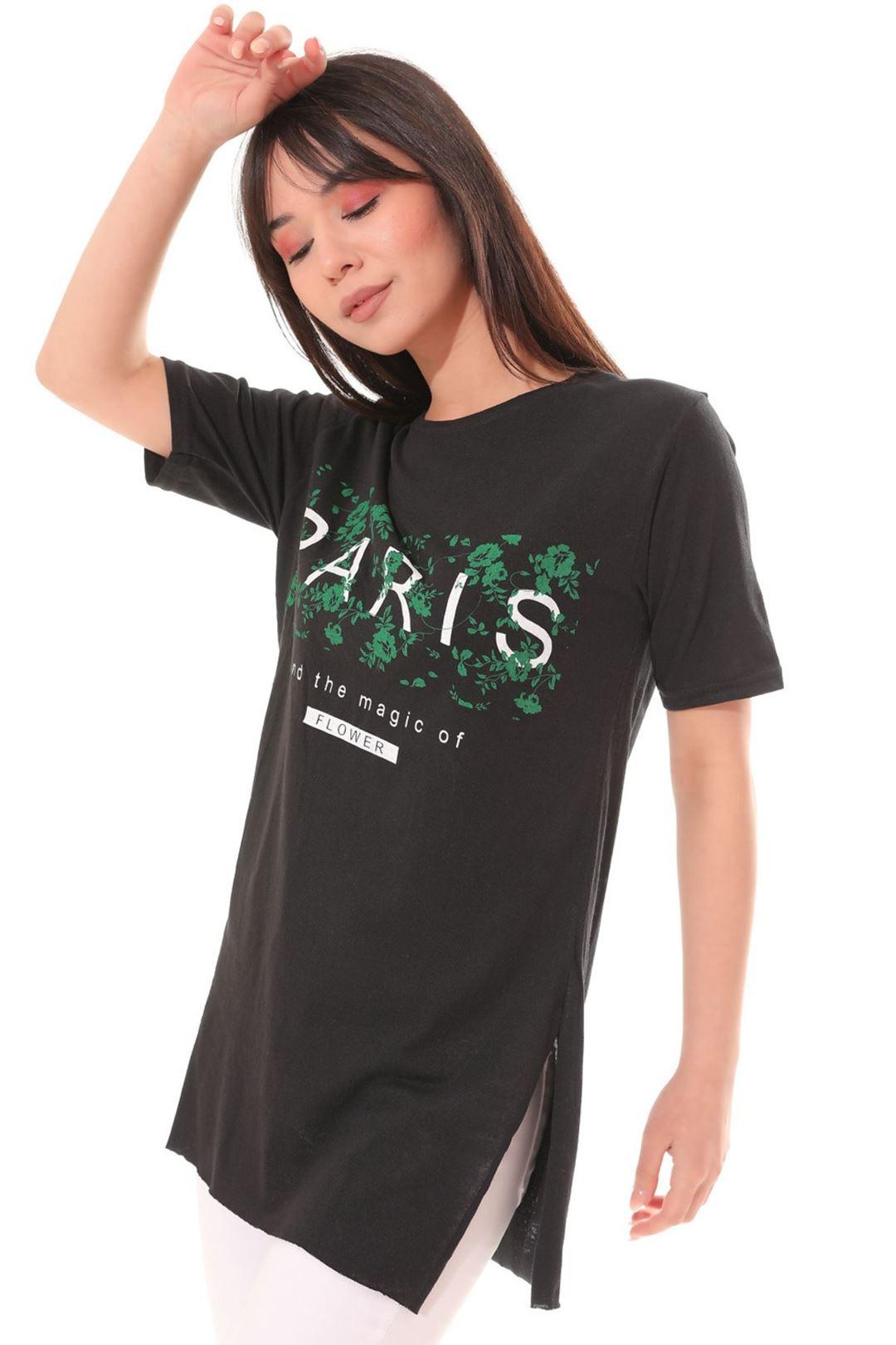 Paris Baskılı Tunik Siyah
