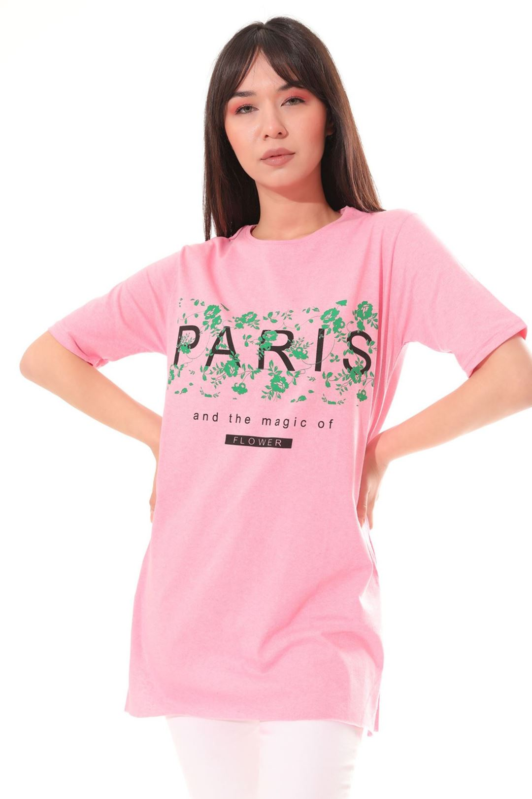 Paris Baskılı Tunik Pembe