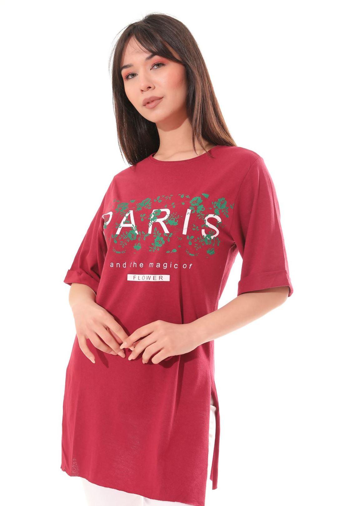 Paris Baskılı Tunik Bordo