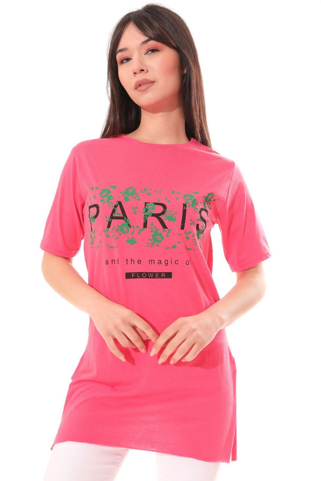 Paris Baskılı Tunik Fuşya