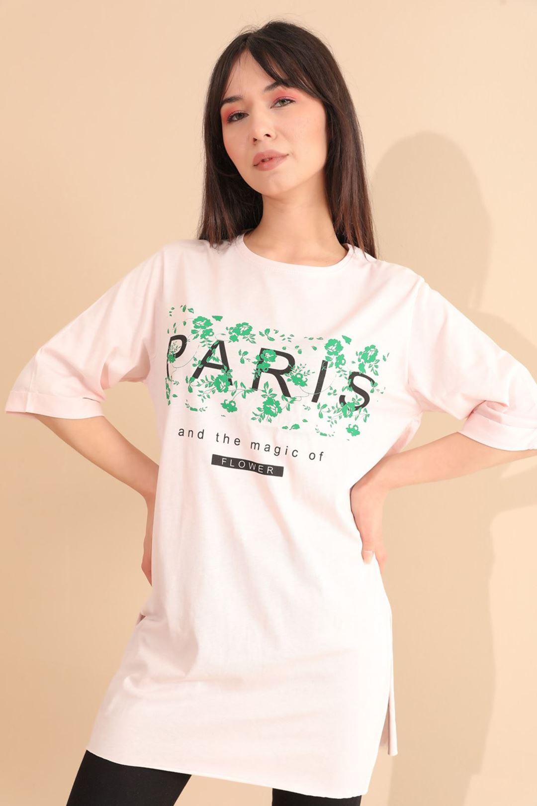 Paris Baskılı Tunik Açık Pudra