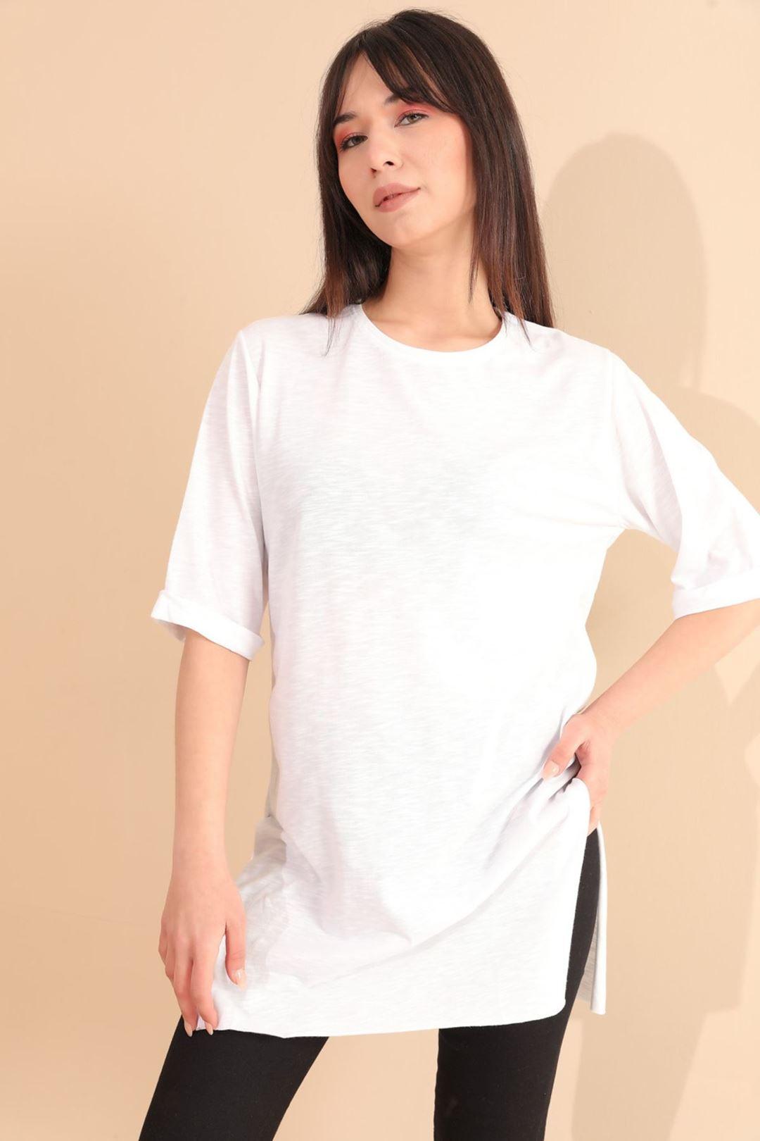 Yan Yırtmaçlı Tunik Beyaz