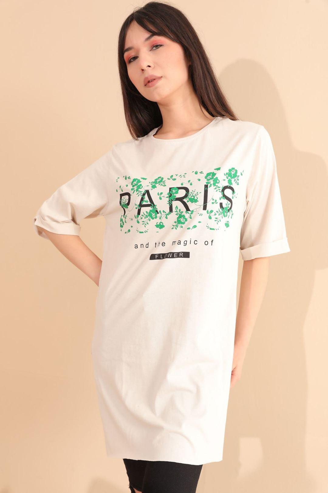 Paris Baskılı Tunik Bej