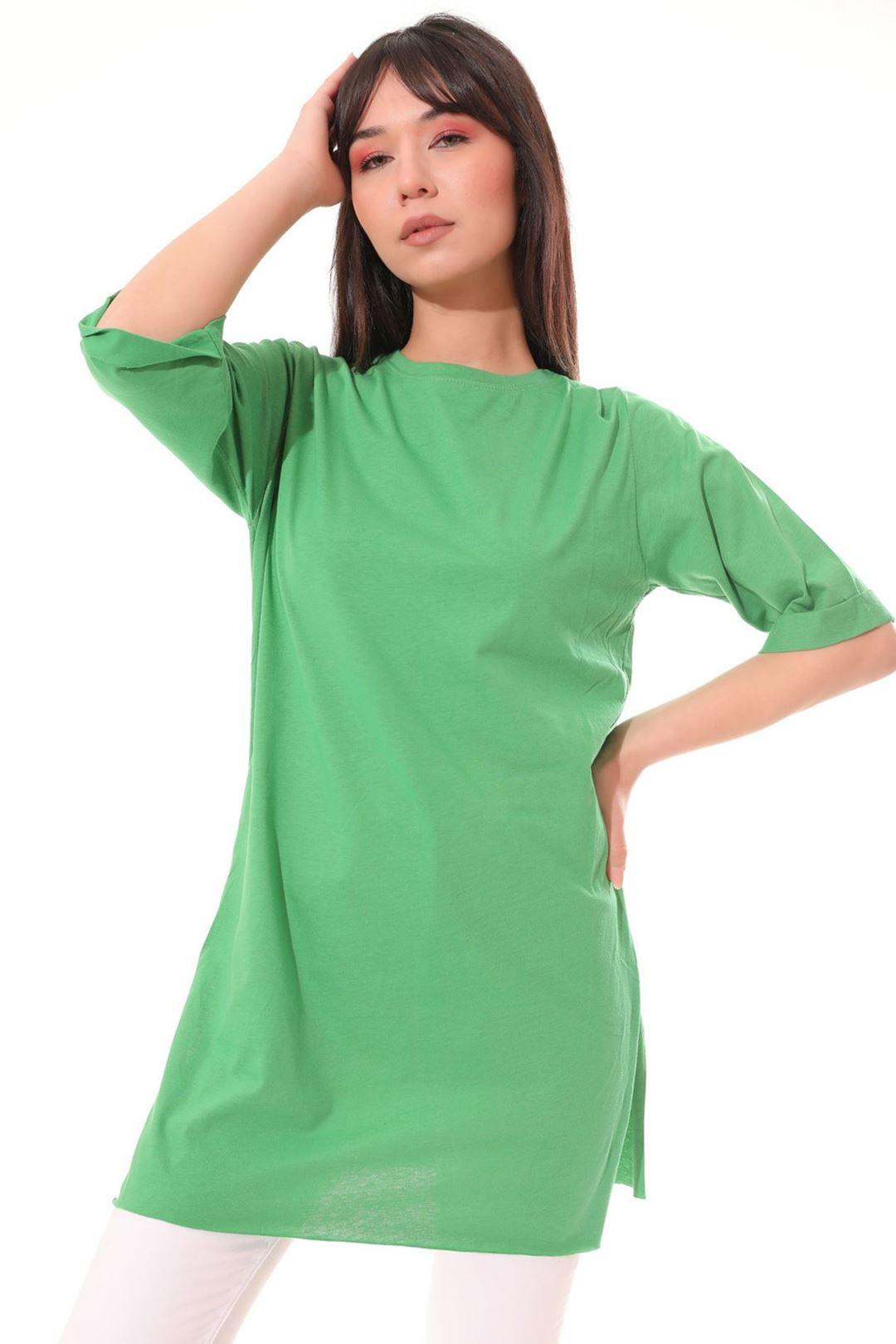 Yan Yırtmaçlı Tunik Yeşil