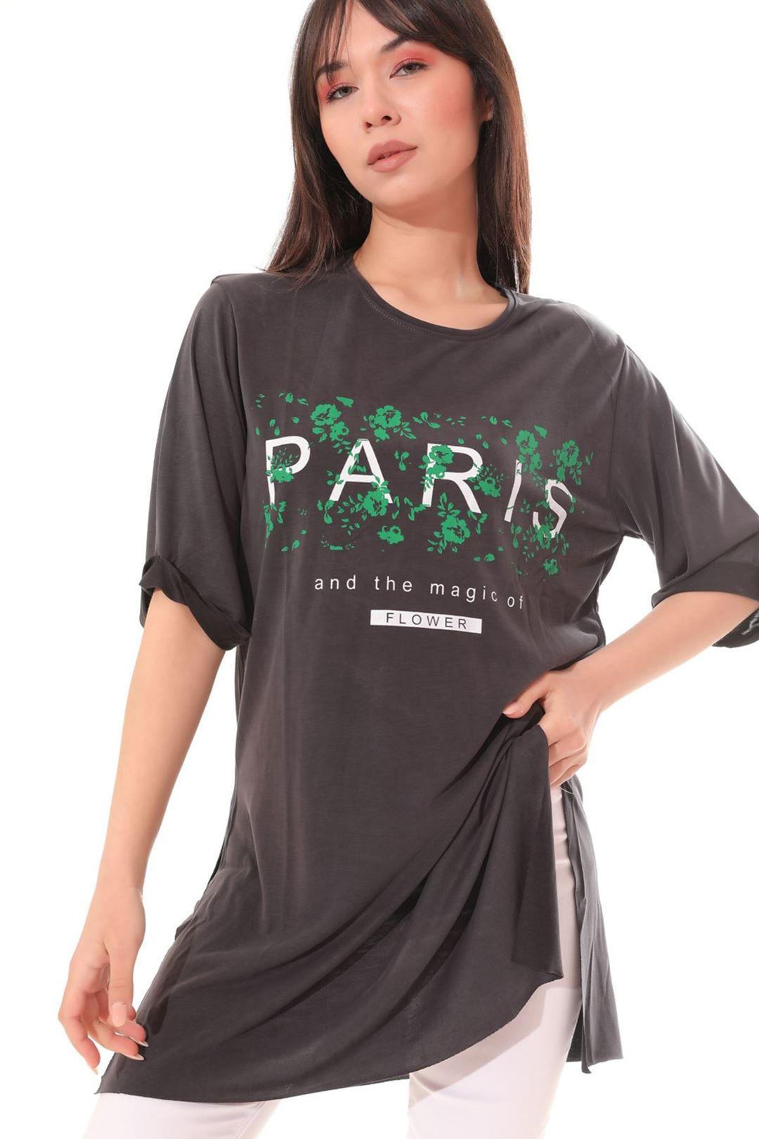 Paris Baskılı Tunik Füme