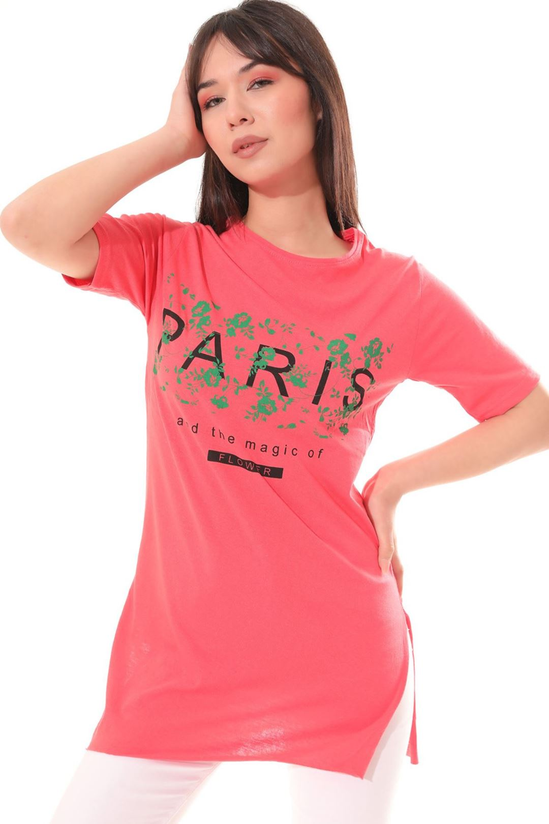 Paris Baskılı Tunik Narçiçeği