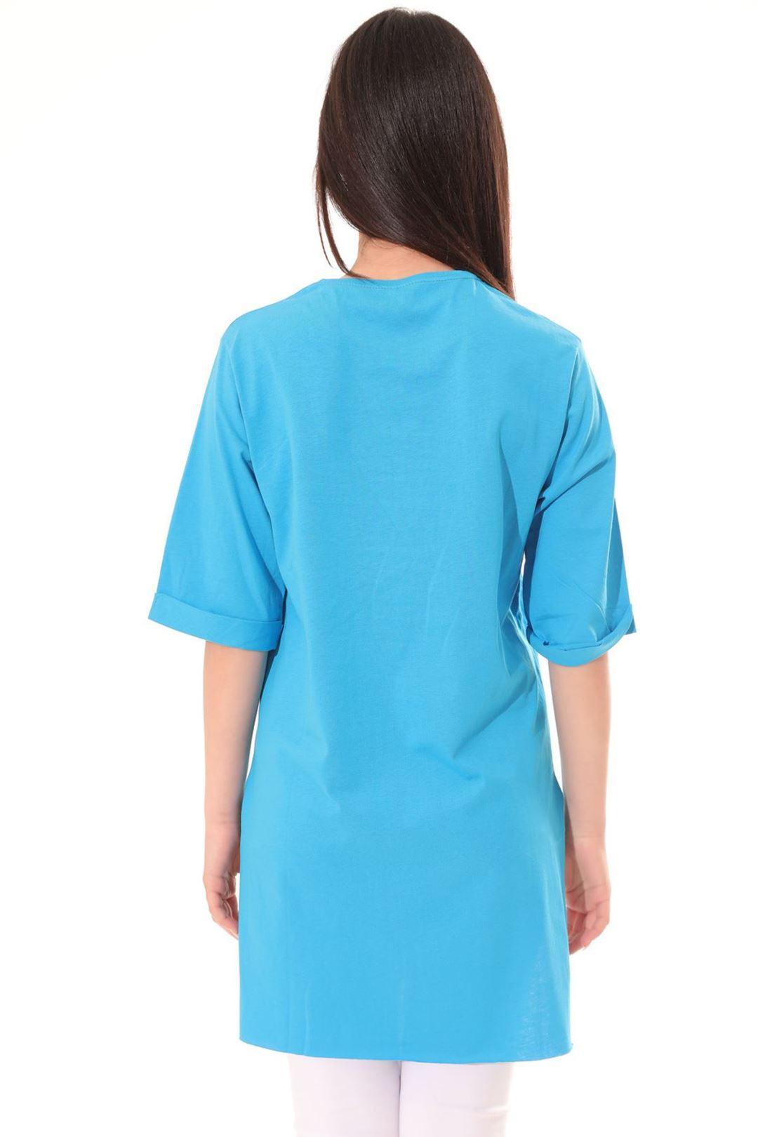 Yan Yırtmaçlı Tunik Mavi