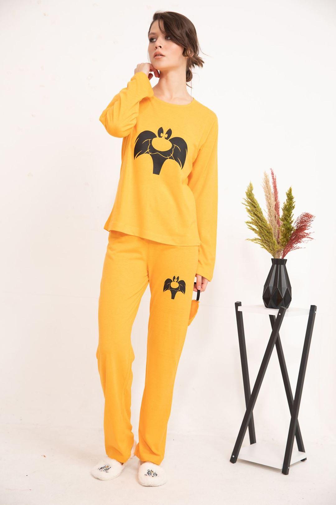 Kedi Baskılı Uzun Kollu Pijama Takımı Orange