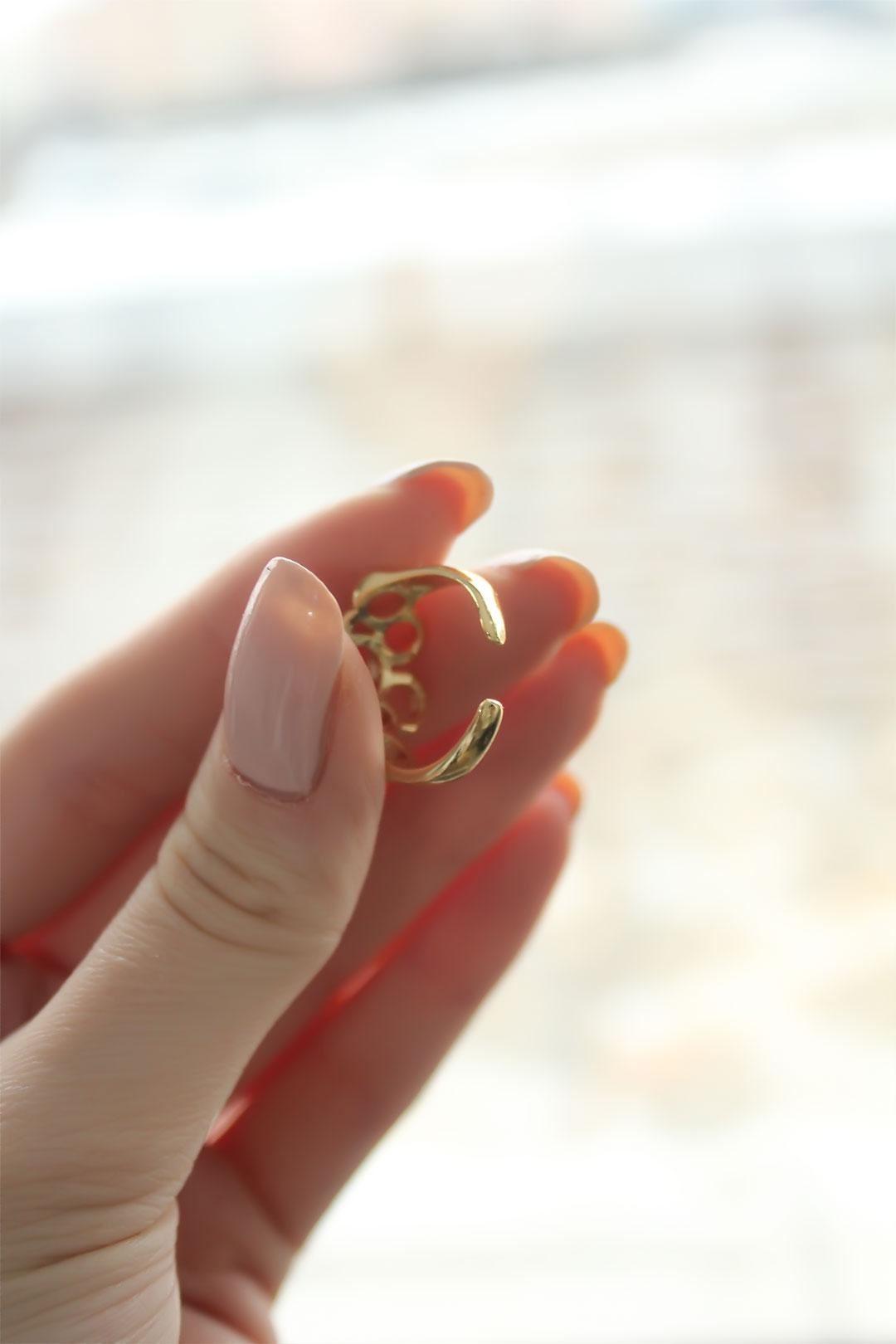 Geometrik Halka Gold Ayarlanabilir Kadın Yüzük
