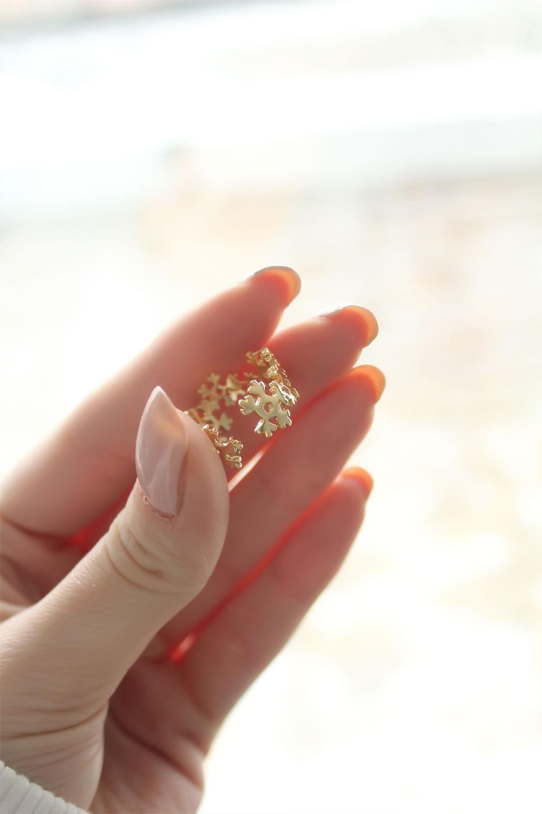 Kar Tanesi Model Gold Kaplama Ayarlanabilir Kadın Yüzük